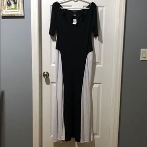 Sexy black and white dress with key hole neck